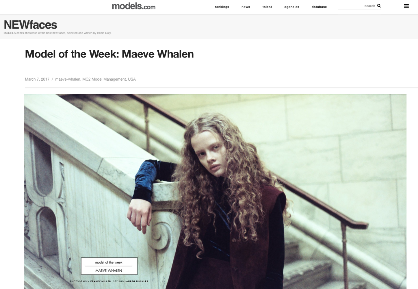 Maeve Whalen featured at Models.com NEWfaces