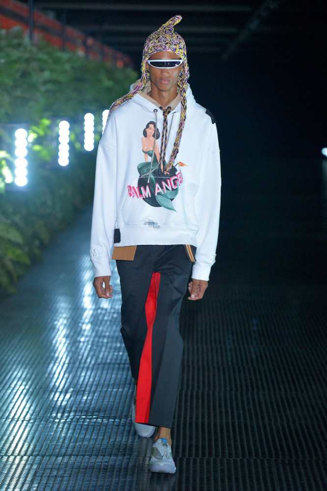 Romaine Dixon walks in Palm Angels SS20 Men's Fashion Show in Milan